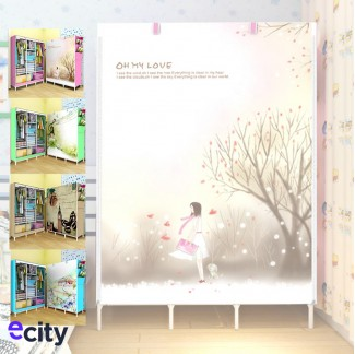 E-city 3D Pattern Large Capacity Waterproof Curtain Type Wardrobe
