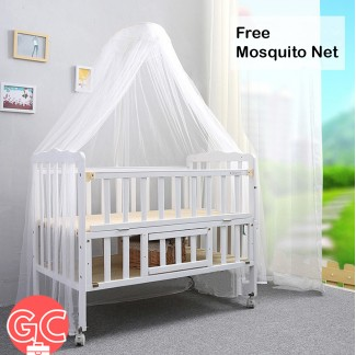 GC 298 2 Tiers Natural Easel Wooden 2 in 1 Cradle Baby Cot – White