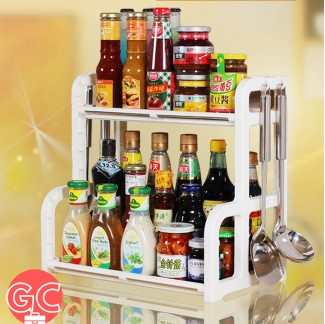 GC RK017 2 Tiers Seasoning and Kitchen Rack with Stainless Steel Support