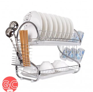 GC 2 Layers S Shape Stainless Steel Dish Rack Organizer with Tray