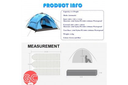 GC 4 Persons Waterproof Dome Automatic Instant Rapid Tent