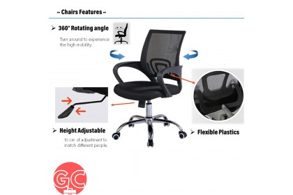 GC Adjustable Swivel Med-Back Mesh Mix & match Office Chair with Ergonomic Design