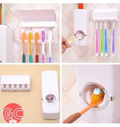 GC Toothpaste Dispenser + Toothbrush Holder with Suction Pad Wall Mounted