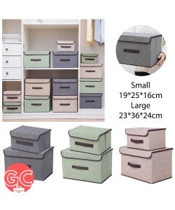 GC RK030 Japanese Style Foldable Box Organizer Large Storage Box with Lid (2 in 1 Set)